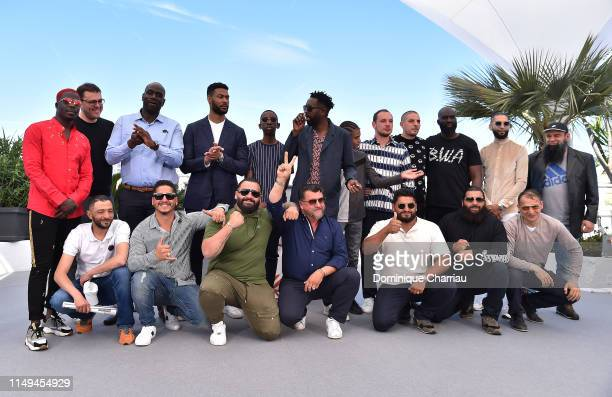 Director Ladj Ly and the cast of the Miserables attend the photocall for Les Miserables during the 72nd annual Cannes Film Festival on May 16 2019 in...