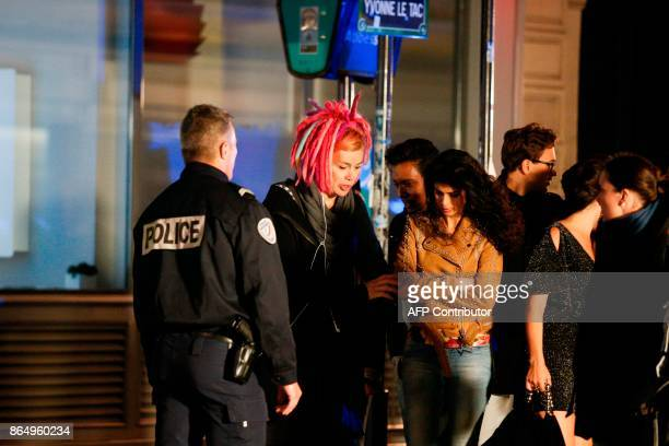 US director Lana Wachowski and Indian actress Tina Desai are pictured on the set of Netflix TV scifi series Sense8 in the Montmartre area of Paris on...