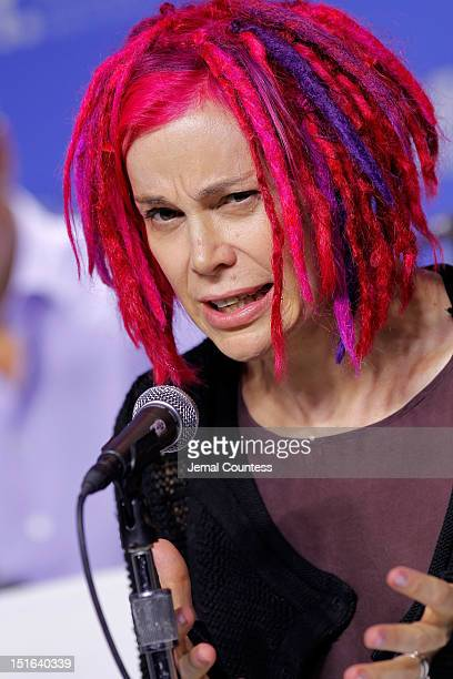 Director Lana Wachowski speaks onstage at the Cloud Atlas Press Conference during the 2012 Toronto International Film Festival at TIFF Bell Lightbox...
