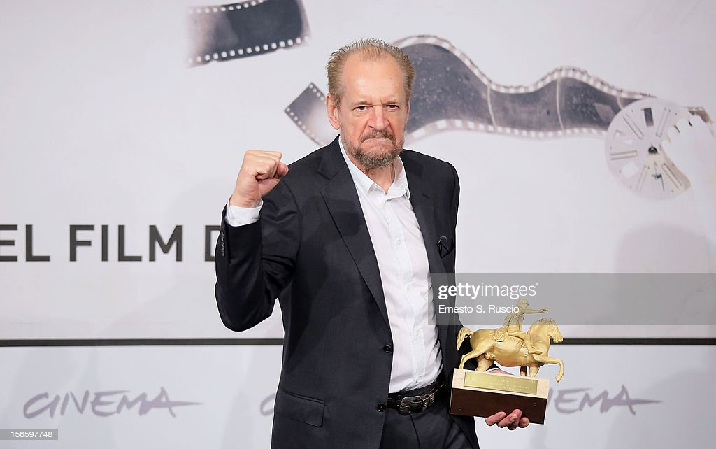 Director Larry Clark poses with his Golden Marc'Aurelio Award for Best Film 'Marfa Girl' during the Award Winners Photocall during the 7th Rome Film Festival at Auditorium Parco Della Musica on November 17, 2012 in Rome, Italy.