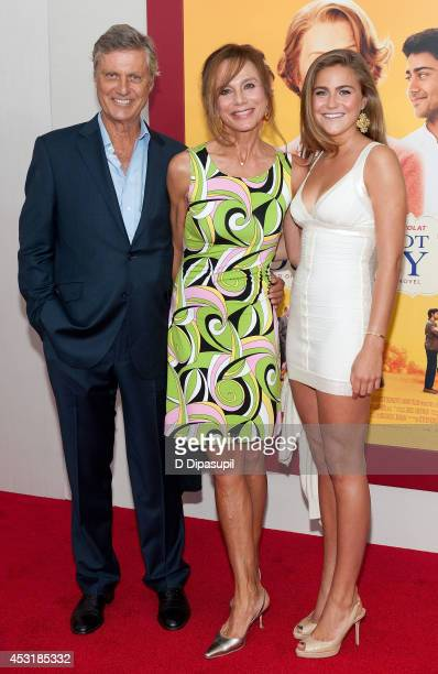 Director Lasse Hallstrom wife Lena Olin and daughter Tora Hallstrom attend The HundredFoot Journey New York premiere at the Ziegfeld Theater on...