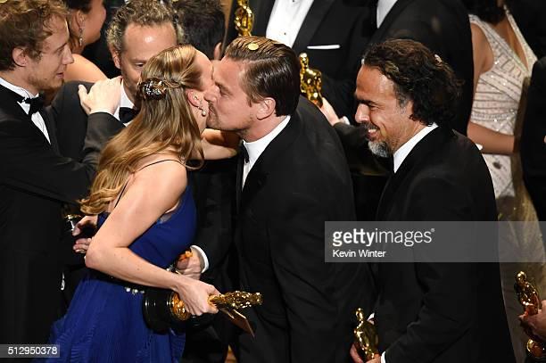 Director Laszlo Nemes, winner of Best Foreign Language Film for 'Son of Saul,' cinematographer Emmanuel Lubezki, winner of Best Cinematography for...