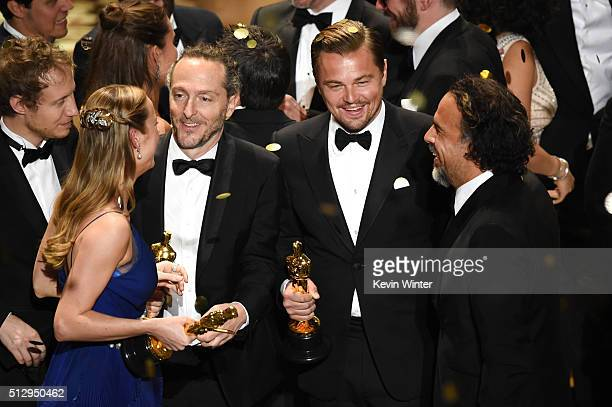 Director Laszlo Nemes, winner of Best Foreign Language Film for 'Son of Saul,' actress Brie Larson, winner of Best Actress for 'Room,'...