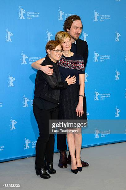 Director Laura Bispuri Alba Rohrwacher and Lars Eidinge attend the 'Sworn Virgin' photocall during the 65th Berlinale International Film Festival at...