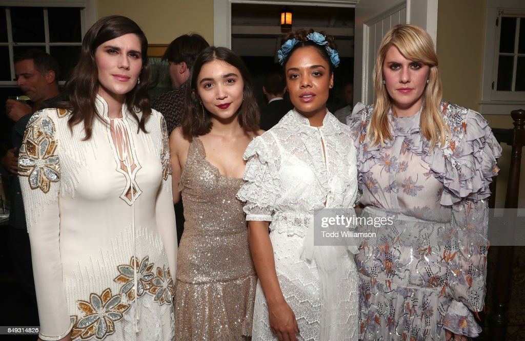 Director Laura Mulleavy, Rowan Blanchard, Tessa Thompson and Director Kate Mulleavy attend the premiere Of A24's 'Woodshock' at ArcLight Cinemas on September 18, 2017 in Hollywood, California.