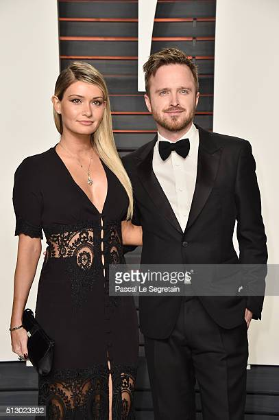 Director Lauren Parsekian and actor Aaron Paul attend the 2016 Vanity Fair Oscar Party Hosted By Graydon Carter at the Wallis Annenberg Center for...