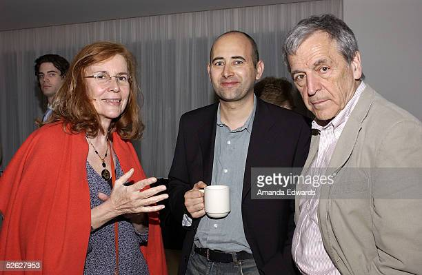 Director Laurent Tirard poses with Director CostaGavras and his wife Michele RayGavras as they attend the post screening party for the 9th Annual...