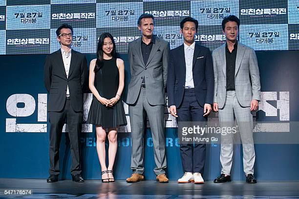 Director Lee JaeHan Jin SeYeon Liam Neeson Lee JungJae and Jung JoonHo attend the premiere for 'Operation Chromite' on July 13 2016 in Seoul South...