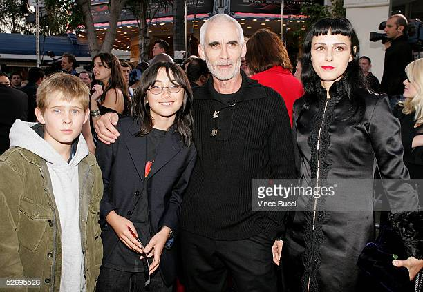 Director Lee Tamahori with his sons from previous marriages and his girlfriend Sasha Turjak arrive at the premiere of Revolution Studios and Columbia...