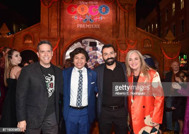Director Lee Unkrich Actor Anthony Gonzalez Codirector/Screenwriter Adrian Molina and Producer Darla K Anderson at the US Premiere of DisneyPixar's...