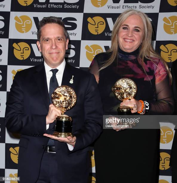 Director Lee Unkrich and producer Darla K Anderson attend the press room at the 16th Annual VES Awards at The Beverly Hilton Hotel on February 13...