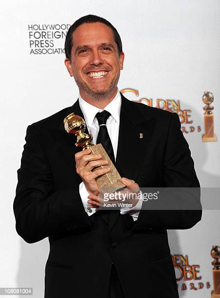 Director Lee Unkrich poses with his award for Best Animated Feature for Toy Story 3 in the press room at the 68th Annual Golden Globe Awards held at...