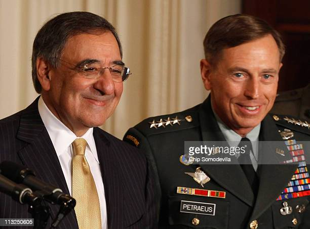 Director Leon Panetta and US Army Gen David Petraeus are given new roles in the national security team by US President Barack Obama in the East Room...