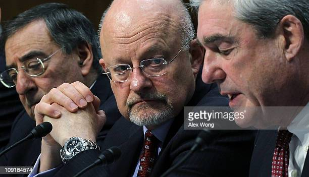 CIA Director Leon Panetta Director of National Intelligence James Clapper and FBI Director Robert Mueller testify during a hearing before the Senate...