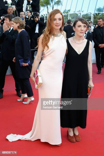 Director Leonor Serraille and Laetitia Dosch of 'Jeune Femme' attend the Closing Ceremony during the 70th annual Cannes Film Festival at Palais des...
