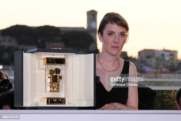 Director Leonor Serraille winner of the Camera d'Or for best first film for 'Jeune femme' attends the Palme D'Or winner photocall during the 70th...