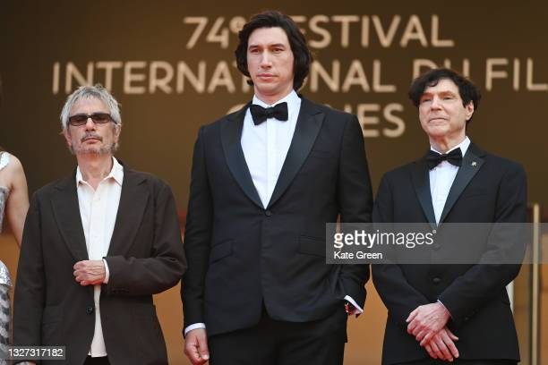 """Director Leos Carax, Adam Driver and Russell Mael attend the """"Annette"""" screening and opening ceremony during the 74th annual Cannes Film Festival on..."""
