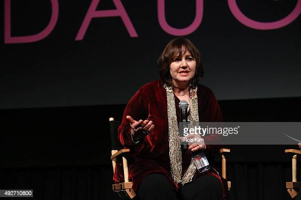 Director Leslee Udwin talks with Katie Couric for a QA at the New York Premiere of India's Daughter at NYIT Auditorium on October 14 2015 in New York...