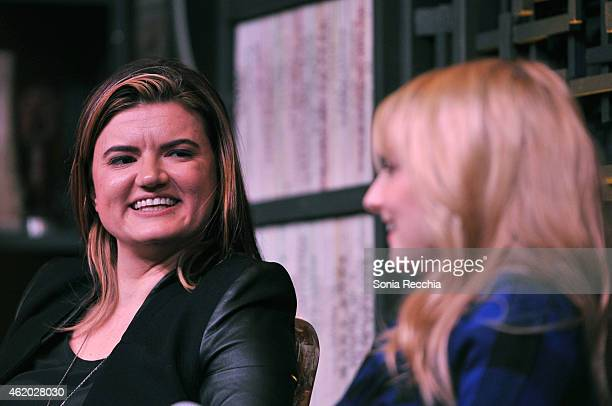 Director Leslye Headland and actress Melissa Rauch speak onstage at the Cinema Cafe during the 2015 Sundance Film Festival at Filmmaker Lodge on...