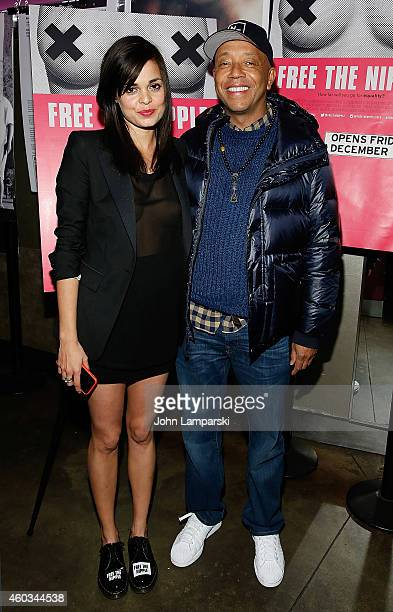 Director Lina Esco and Russell Simmons attend Free The Nipple New York Premiere at IFC Center on December 11 2014 in New York City