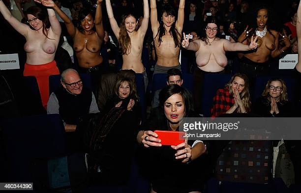 Director Lina Esco and women supporting the film attend Free The Nipple New York Premiere at IFC Center on December 11 2014 in New York City