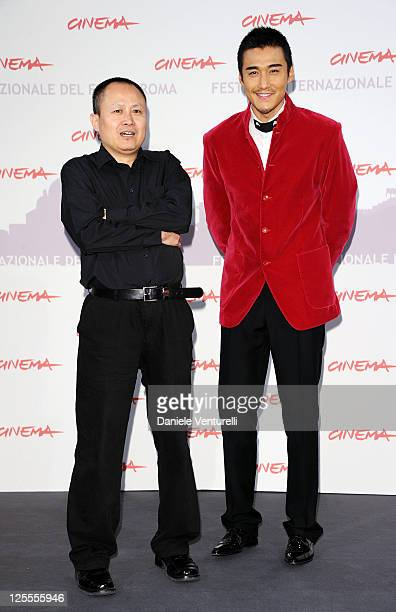 Director Liu Bingjian and actor Hu Bing attend the 'The Back' photocall during The 5th International Rome Film Festival at Auditorium Parco Della...