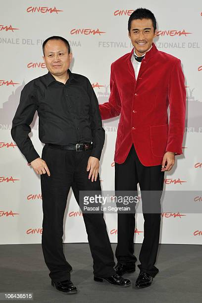 Director Liu Bingjian and actor Hu Bing pose at The Back photocall during The 5th International Rome Film Festival at Auditorium Parco Della Musica...
