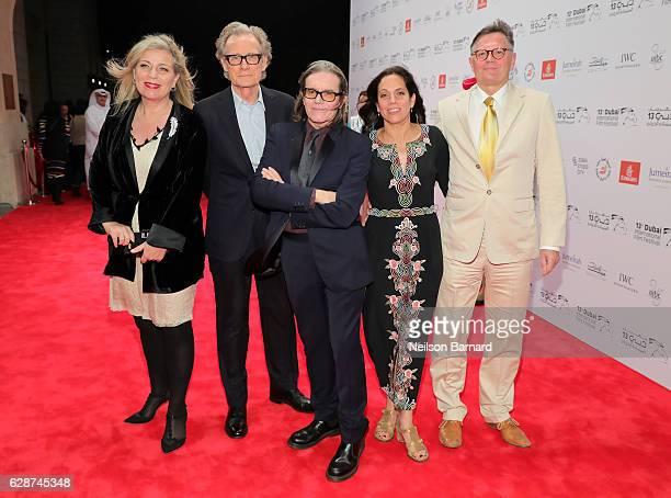 Director Lone Scherfig actor Bill Nighy producer Stephen Woolley Elizabeth Karlsen and Jesper Preben Allentoft attend the Their Finest red carpet...