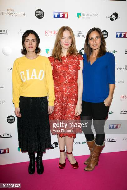 Director Lonor Serraille actresses Odile Vuillemin and Julie de Bona attend the 'Trophees du Film Francais' 25th ceremony at Palais Brongniart on...