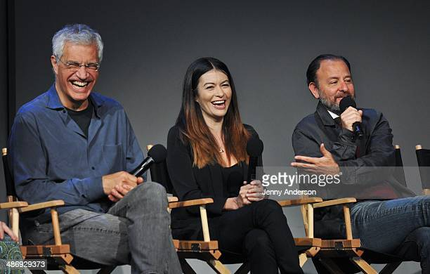 Director Louie Psihoyos film subject Leilani Munter and producer Fisher Stevens discuss the environmental documentary 6 at the Apple Store Soho on...