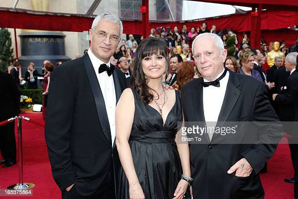 Director Louie Psihoyos producer Paula DuPre Pesman and Richard O'Barry winners of Best Documentary Feature award for 'The Cove' arrive at the 82nd...