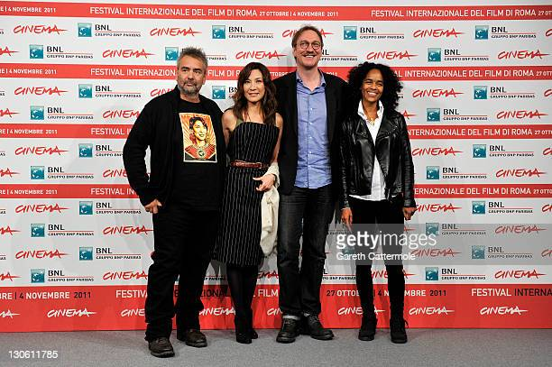 Director Luc Besson actress Michelle Yeoh actor David Thewlis and producer Virginie BessonSilla attend the 'The Lady' photocall during the 6th...
