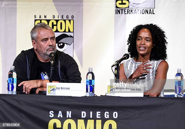 Director Luc Besson and producer Virginie BessonSilla attend the 'Valerian And The City Of A Thousand Planets' panel during ComicCon International...