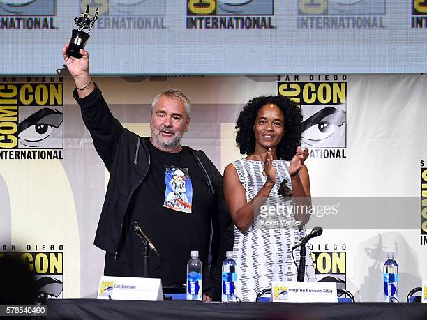 Director Luc Besson with award and producer Virginie BessonSilla attend the 'Valerian And The City Of A Thousand Planets' panel during ComicCon...