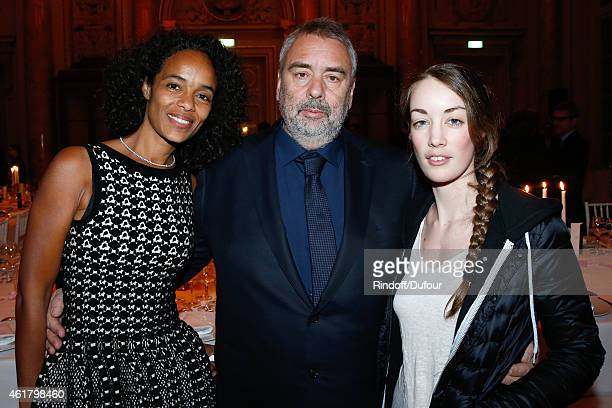 Director Luc Besson with his wife Virginie and his daughter Juliette attend Luc Besson receives the First 'Gold Medal of the Academy of Arts and...