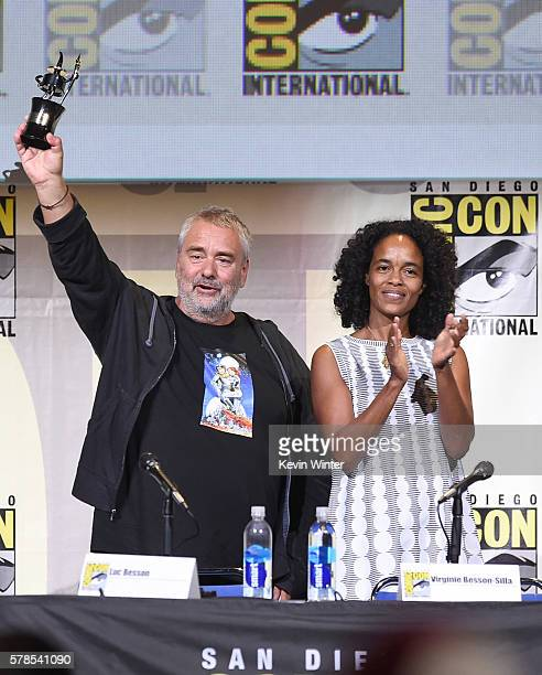 Director Luc Besson with Inkpot Award and producer Virginie BessonSilla attend the 'Valerian And The City Of A Thousand Planets' panel during...