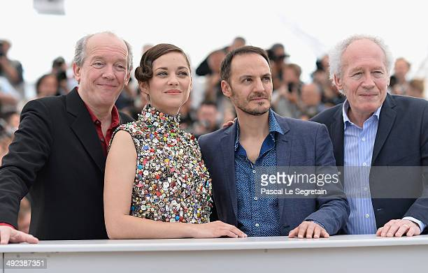 "Director Luc Dardenne, actors Marion Cotillard, Fabrizio Rongione and Jean-Pierre Dardenne attend the ""Two Days, One Night"" photocall during the 67th..."