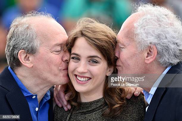 Director Luc Dardenne actress Adele Haenel and director JeanPierre Dardenne attend The Unknown Girl Photocall during the 69th annual Cannes Film...