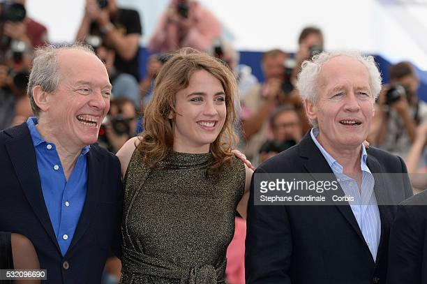 Director Luc Dardenne actress Adele Haenel and JeanPierre Dardenne attend The Unknown Girl Photocall during the annual 69th Cannes Film Festival at...