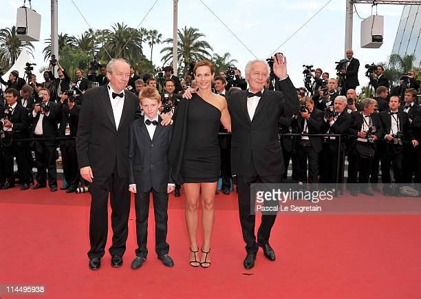 Director Luc Dardenne Thomas Doret Cecile de France and JeanPierre Dardenne attend the Les BienAimes premiere at the Palais des Festivals during the...
