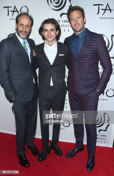 Director Luca Guadagnino actors Timothee Chalamet and Armie Hammer attend the 2017 New York Film Critics Awards at TAO Downtown on January 3 2018 in...