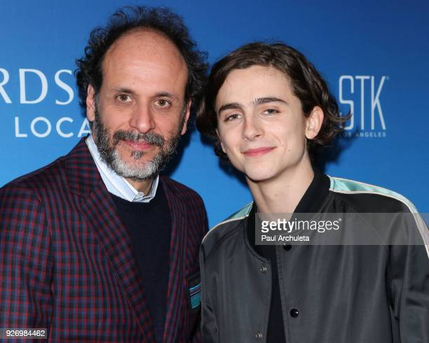 Director Luca Guadagnino and Actor Timothee Chalamet attend the Sony Pictures Classics Oscar nominees dinner on March 3 2018 in Los Angeles California