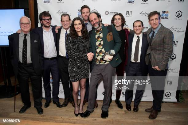 Director Luca Guadagnino and actress Rachel Weisz pose with the cast of 'Call Me By Yout Name' with their award for Best Feature Film during IFP's...
