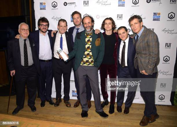 Director Luca Guadagnino and the cast of Call Me by Your Name pose with the Best Feature Film award in the GreenSlate Greenroom during The 2017 IFP...