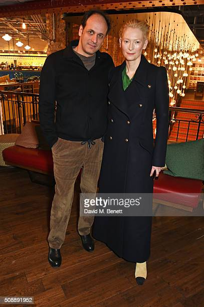 Director Luca Guadagnino and Tilda Swinton attend a photocall for A Bigger Splash at Picturehouse Central on February 7 2016 in London England