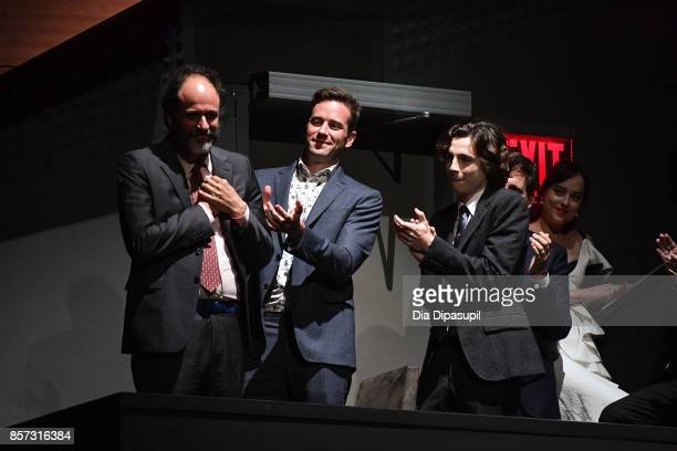 Director Luca Guadagnino Armie Hammer Timothee Chalamet and Dakota Johnson attend a screening of 'Call Me by Your Name' during the 55th New York Film...