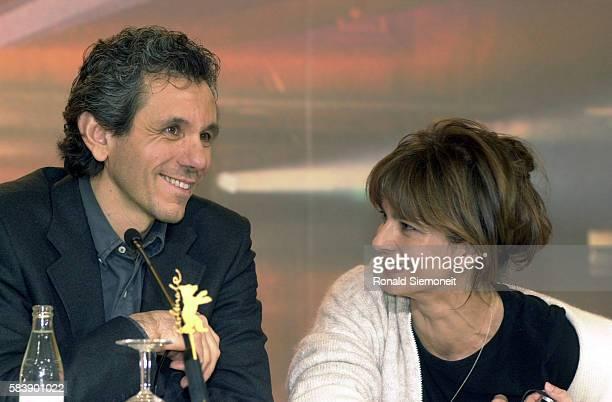 Director Lucio Gaudino and actress Laura Morante promoting the film 'Prime Luci dell'Alba'