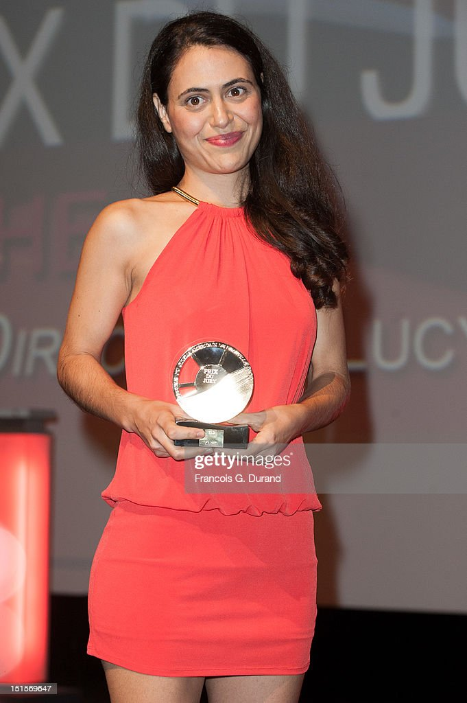Director Lucy Mulloy poses with her trophy during the closing ceremony of the 38th Deauville American Film Festival on September 8, 2012 in Deauville, France.