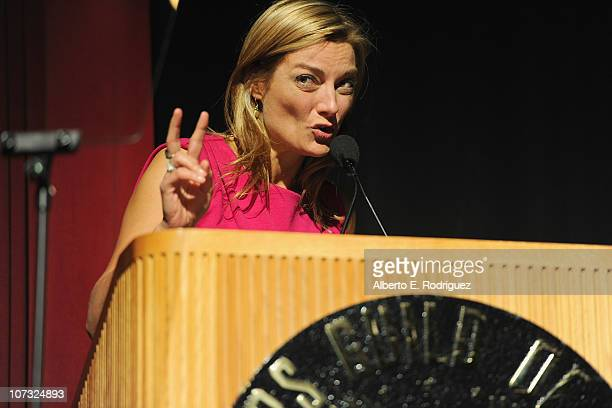 Director Lucy Walker speaks at the International Documentary Association's 26th annual awards ceremony at the Directors Guild Of America on December...