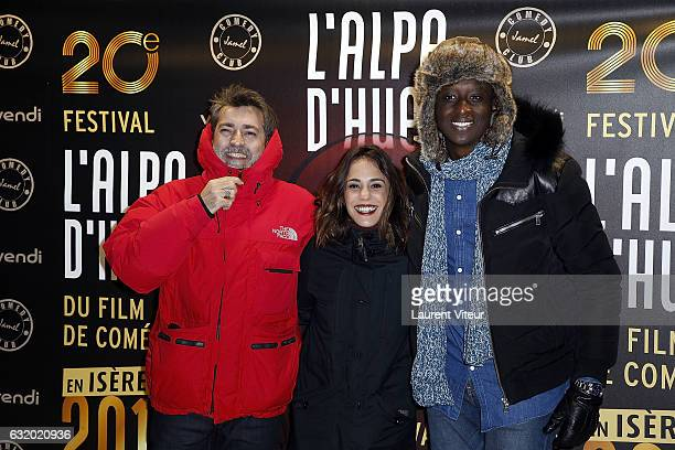 Director Ludovic Bernard Actress Alice Essaidi and Actor Ahmed Sylla attend the Photocall 'Le Jamel Comedy Club prend de l'Altitude' at Le Signal at...